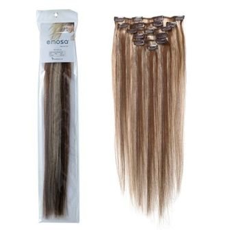 Emosa 7Pcs 70g 100% Real Full Head Remy Human Hair Clip In Extensions #4/613 Medium Brown Mixed With Light blonde Silky Soft