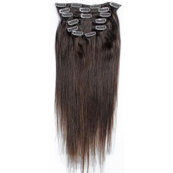 Emosa 7Pcs 70g 100% Real Full Head Remy Human Hair Clip In Extensions #4 Medium Brown Silky Soft