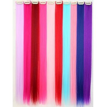 S-noilite Colored Clip in Hair Extensions 1Clips10PCS/SET 22 Inches Long Straight Party Colored Highlight Hair Clip in Hair Extensions Synthetic Hair(1Clips Full Colors)