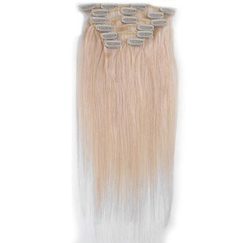 Emosa 7Pcs 70g 100% Real Full Head Remy Human Hair Clip In Extensions #60 Platinum Blonde Silky Soft