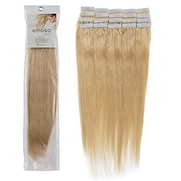 Emosa 16 Inch Color 24 Golden Blonde 16tape in Premium Remy Human Hair Extensions_20 Pieces Set_30g Weight Straight Women Beauty Salon Style Design