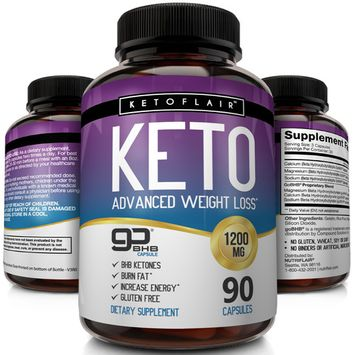NutriFlair Keto Diet Pills 1200mg, 90 Capsules - Advanced Weight Loss Ketosis Supplement - BHB Salts (beta hydroxybutyrate) Ketogenic Fat Burner, Carb Blocker, Non-GMO - Best Weight Loss Support