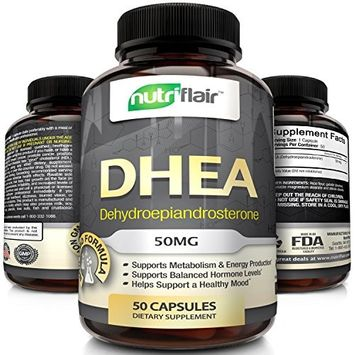 Premium Quality DHEA Supplement, 50MG (50 Capsules) - Promotes Balanced Hormone Levels for Men & Women - slows down Aging Process - Supports Sex Drive - Restores Muscle Strength, Non-GMO, Made in USA