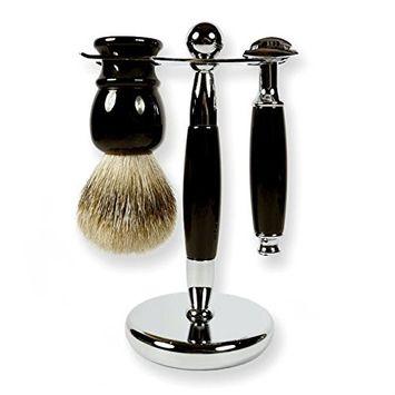 3 Piece Kaliandee Shaving Set with Silvertip Brush in Ebony, Fiore Razor, and Ebony & Chrome Stand