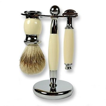 3 Piece Kaliandee Shaving Set with Silvertip Brush in Chrome and Ivory, Fiore Razor, and Ivory & Chrome Stand
