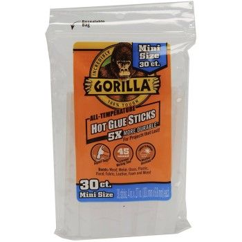 "Gorilla Hot Glue Gun Sticks, 4"", 30-Count, Mini Size"