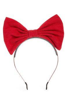 Maniere Corduroy Bow Headband, Size One Size - Red