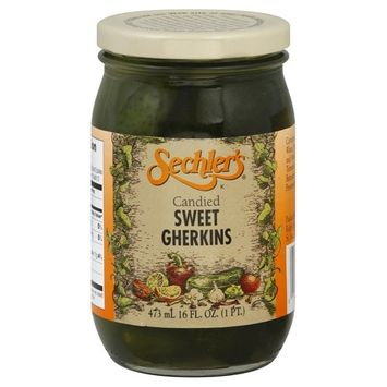 Sechler's Candied Sweet Gherkins 16.0 OZ (Pack of 6)