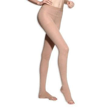 BriteLeafs Sheer Compression Pantyhose Firm Support 20-30 mmHg, Open Toe - Small, Beige