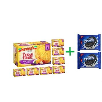 York Five Cheese Texas Toast, 8 ct (8 PACK) + OREO Cookies Sandwich Chocolate - 14.3 Oz + Fruity Chews Gum Watermelon 1/60 Count