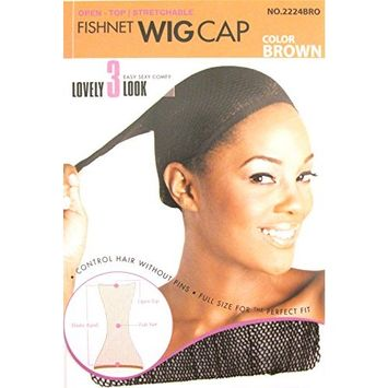 Magic Collection Open Top Fishnet Wig Cap #2224 Brown 6 pack, cool mesh, stretchable fabric, elastic band, comfortable, natural look, hair pins, wig, hair wig, control your hair, …
