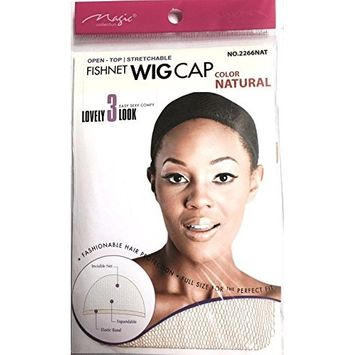 Magic Fishnet Wig Cap 2266 Natural 2 Pack, Extra Long Hair Net, Elastic Band, Hair Net, Nylon, Full Size, Perfect Fit, Keeps Hair in Place, Hair Extensions, Hair Protection, Stretchable, Expandable