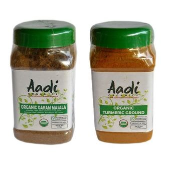 Aadi Organics All Organics Bundle: Indian Garam Masala and Turmeric Powder - 6oz / 170g Each