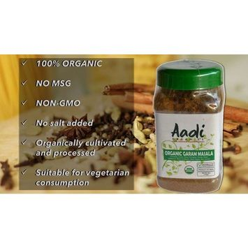 Aadi Organics - USDA Certified Organic Indian Garam Masala Powder - 6oz / 170g per Wide Mouthed Bottle - Cooking, Kitchen Use, Flavoring Herbs and Spices