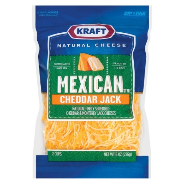 Kraft Natural Finely Shredded Mexican Style Cheddar Jack Cheese 8 oz