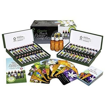 Bach Flower Remedy Complete Kit in Wooden Case. 40 Quality Essences, Pack 38 Divination Cards & 38 Posters, 2 Dosage Bottles. Premium Gift Set Box.