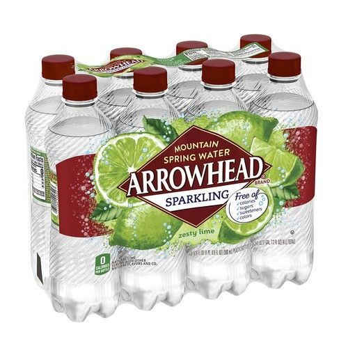 Arrowhead Sparkling Water, Zesty Lime, 16.9 oz. Bottles (Pack of 8)