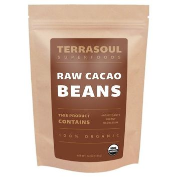 Terrasoul Superfoods Raw Organic Criollo Cacao Beans, 1 Pound [Whole Cacao Beans]