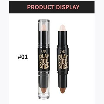 Create Attractive Makeup, Lotus.flower Waterproof Double-ended Contour Stick Makeup Creamy Highlighter Bronzer Shimmer Concealer