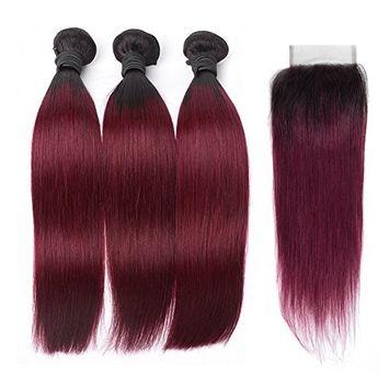 HC Hair Peruvian Omber Hair Straight Human Hair 3 Bundles With Lace Closure Free Part #1B/99J Hair Extensions Burgundy Virgin Human Hair Bundles