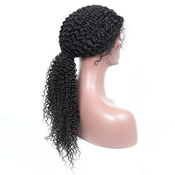 HC Hair Kinky Curly 360 Lace Frontal Wig with Natural Hairline and High Ponytail Peruvian Virgin 360 Lace Frontal Curly Human Hair Wigs for Black Women 150% Density