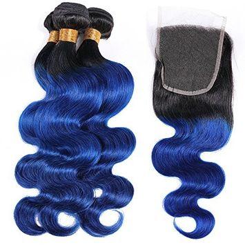 HC Hair Ombre Peruvian Human Hair 3 Bundles with Closure Body Wave Ombre T1/B Blue Virgin Hair Bundle Deals with 4x4 Lace Closure 4Pcs Lot