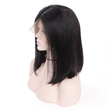 HC Hair 1B Color Short Bob Wigs Brazilian Straight Lace Front Human Hair Wigs for Black Women Pre Plucked Natural Hairline
