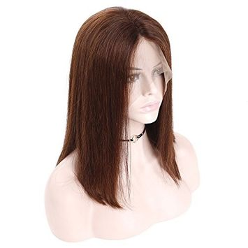 HC Hair #4 Hair Color Short Bob Wigs Lace Front Brazilian Remy Human Hair Wig Pre Plucked Black for Women Middle Part Lace Frontal Wigs