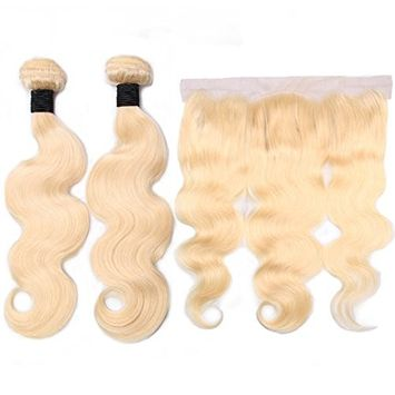 HC 613 Blonde Human Hair 2 Bundles with Frontal Peruvian Body Wave with Frontal 100% Virgin Human Hair Weave with Lace Frontal