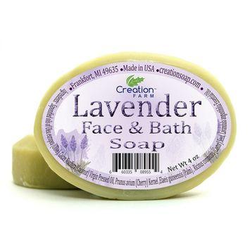 Handmade Lavender Facial & Complexion 100% Pure Botanical Soap 8 oz ( 2 4 oz Bar Pack ) from Creation Farm