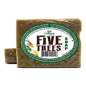 Creation Farm Five Trees – Handmade Soap 8 OZ (2-4 OZ Bar Pack) Aromatherapy with Cinnamon, Frankincense, Lemon, Eucalyptus and Rosemary for Body Wash, Cleansing, Colds, Meditation