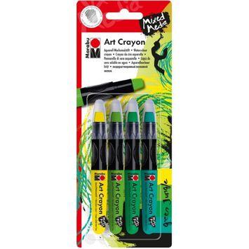 Marabu 1409000-200 Creative Art Crayon Set Green Jungle - Yellow & Greens - Pack of 4