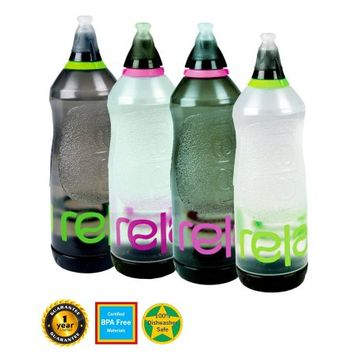Relaj+shape Relaj Shape Water Bottle: Shaped for Cycling Safety - for Sports: Runing, Hiking, Yoga and More - Fits Bottle Holders and Bike Cages - BPA Free; Spill Proof