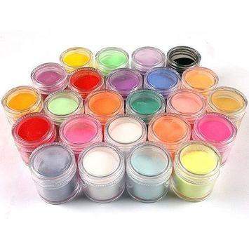 enForten 24 Colors Metal Shiny Glitter Set Acrylic UV Powder Dust Stamp Nail Art