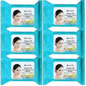 Epielle Argan Oil Makeup Remover Cleaning Towelettes, 30ct (Pack of 6)
