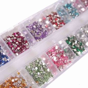 enForten Round Rhinestones Flatback Crystal Best 12 Colours 2mm 3000pcs Nail Art
