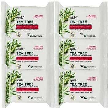 Epielle Tea Tree Makeup Removing Tissues 30ct (6 Pack)