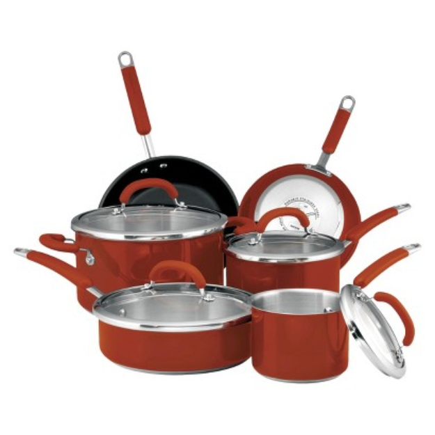 Rachael Ray Stainless Steel 10 piece Cookware Set, Red