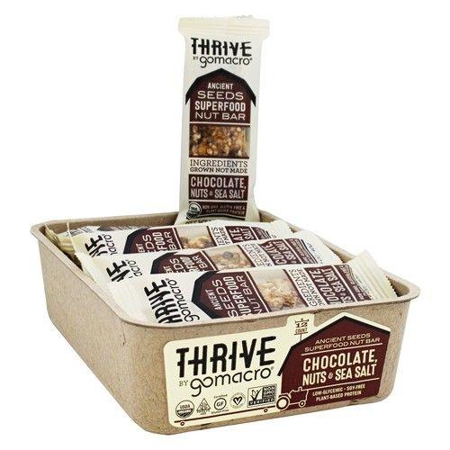 Thrive Organic Raw Superfood Nut & Seed Bars Box Chocolate, Nuts & Sea Salt - 12 Bars
