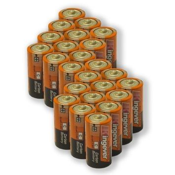 24 Pack C Size Extra Heavy Duty Batteries 0% Mercury Carbon Battery