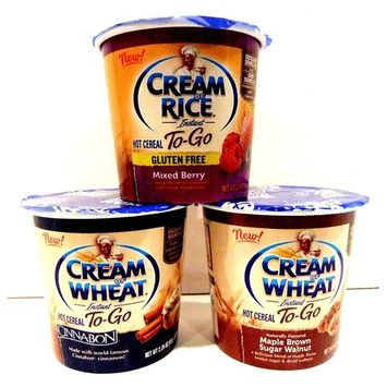 Cream of Wheat, NEW! Hot Cereal To-Go Cups, Variety 6 Pack + FREE 24 count pack of Plastic Spoons, 2 cups each of CINNABON, MAPLE BROWN SUGAR WALNUT, MIXED BERRY (2.29 oz cups)