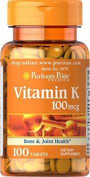Puritan's Pride 2 Units of Vitamin K 100 mcg-100-Tablets