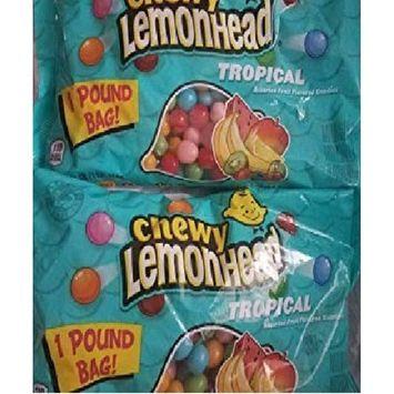 LEMONHEADS Tropical Chewy Candy 2 lbs (2 bags, 1 lb each)