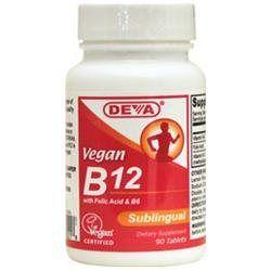 Deva Nutrition - Vegan B12 With Folic Acid B6 Sublingual - 90 Tablets