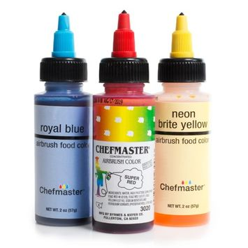 Chefmaster Cake Decorating Food Coloring Airbrush Paint Set - 3 Primary Colors 2oz