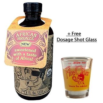 Fire Cider, Apple Cider Vinegar Tonic with African Bronze Honey & Dosage Shot Glass, Natural Detox & Cleansing, Pure & Raw, Certified Organic Ingredients, No Heat Processed, 16 Shots, 8 oz.