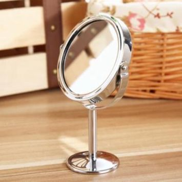 Round Table Type Double-sided Rotatable Mirror Magnifying Beauty Cosmetic Makeup Mirror - Silver