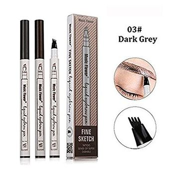 Eyebrow Pen, 2018 Professional Tattoo Eyebrow Pen with Four Tips Long-lasting Waterproof Brow Gel for Eyes Makeup