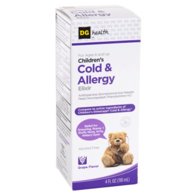 DG Health Children's Cold and Allergy Elixir - Grape - 4 oz