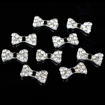 10pcs 3D Silver Alloy Black Bow Tie Bowtie Rhinestones Nail Art Cell Phone Glitters DIY Decorations